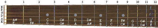 Fretboard - Notes on the 5th and 6th strings