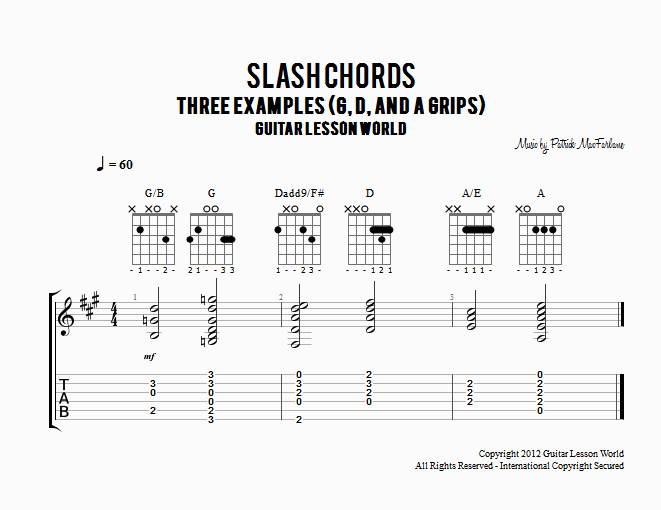 Slash Chords | Guitar Lesson World