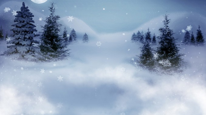 Winter silent night landscape